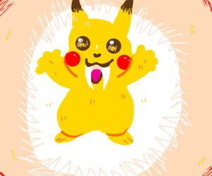 A saberthoothed Pikachu