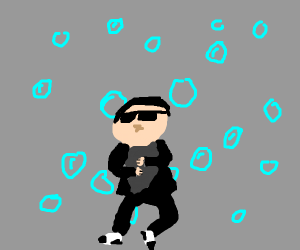 Oppa Gangnam Style in front of some bubbles