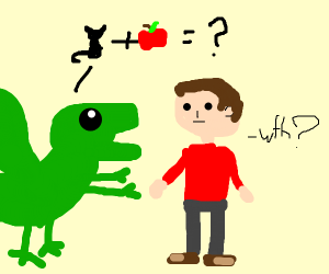 dragon asks human what cat+apple=