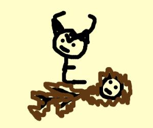 Devil sitting on hairy man