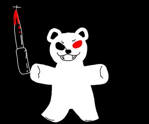 killer teddy bear with huge knife