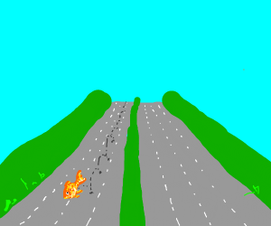 Goldfish jumping on the empty highway