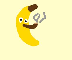 Banana smoking a pipe