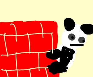 Panda hiding behind a wall