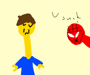 Spiderman insults long necked logo