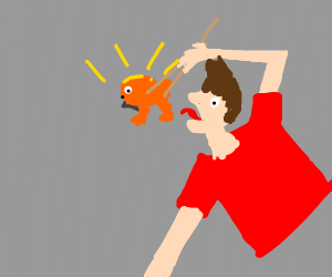 Man consuming fish that has superpowers