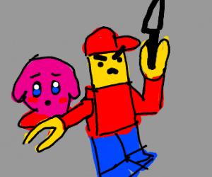 Lego man protecting Kirby