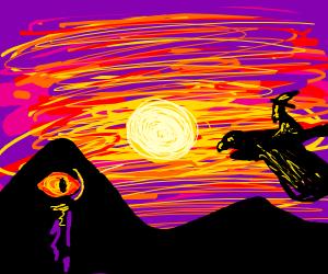 Gandalf riding an eagle