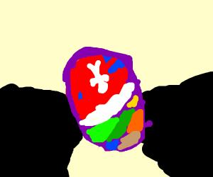 Shiny dragon egg surrounded by dark rocks