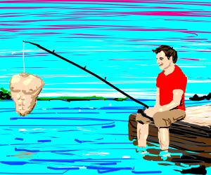man fishing on docks for muscular torsos