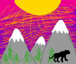 Black cheetah, safari, sunset behind mountain