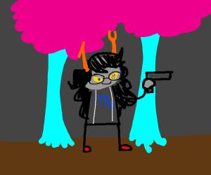 Vriska Serket has a gun (Homestuck)
