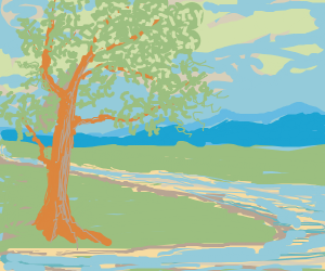 a happy little tree next to a river