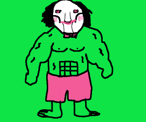 Jigsaw's (the Saw killer) head on Hulk's body