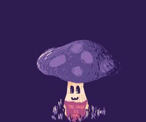 Happy Mushroom wearing an apron