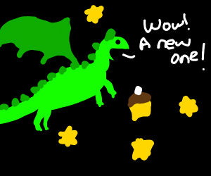 Space dragon discovers a new cupcake