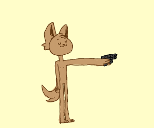 Doggo has a gun, and isn't afraid to use it