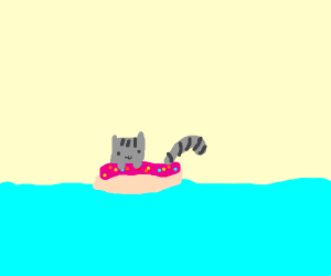 Pusheen on a donut pool floater