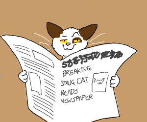 cat with smug face reading newspaper