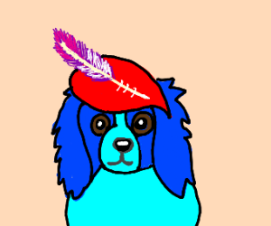 A blue dog wearing a red hat with a plume.