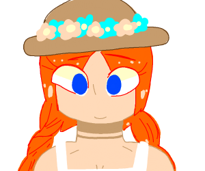 Someone with braids and a floral hat