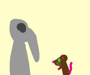 Plague doctor corners a mouse