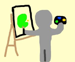 A man paints a green Pac-Man