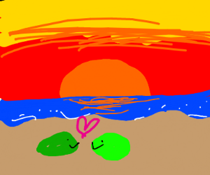 Green slimes on the beach at sunset