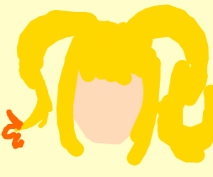 Blonde head with tail