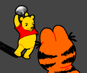 Pooh fights Garfield