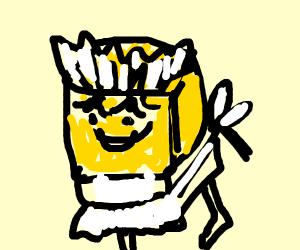 Spongebob with mascara wearing a maids dress