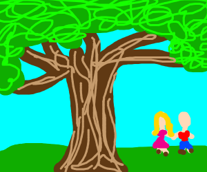 couple under a pink tree