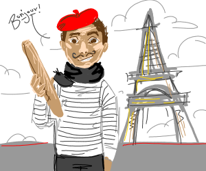 A very french guy with baguette and all