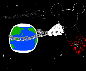 mickey mouse lassoes earth with a chain