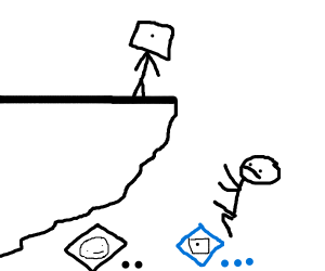 Guy falling of cliff :0