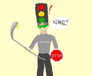 Anime guy stoplight color hair shockedby Nani