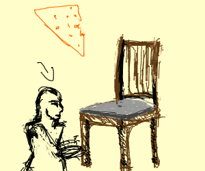 nearly bald man chipping at a chair