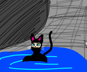 cat woman in cave water