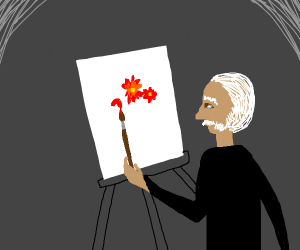 Man paints flower