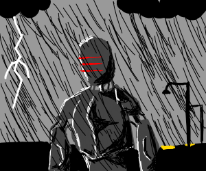 Robot caught in the rain