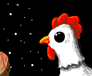 Chicken in the nothingness of space