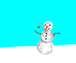moth is confused by snowman