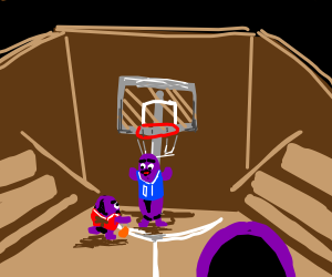 grimace playing bball