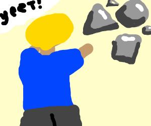 Man throws grey shapes