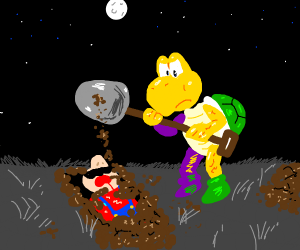 A koopa troops buried Mario