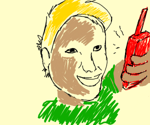 Blonde Man With Giant Red Walkie Talkie