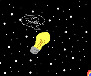 Lone lightbulb in space(y iz diz so random)