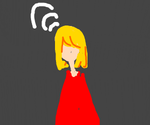 Woman in red dress w/ wifi signals from head