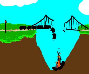 Train wreck on a bridge