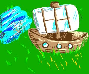 Ship on grass ocean finds water island